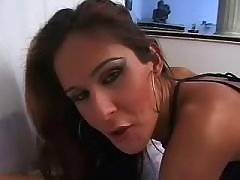 Horny beautiful shemale tempts stud