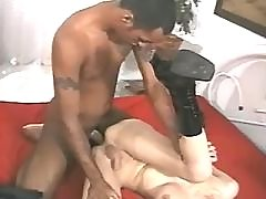 Shemale in boots fucks and gets cum